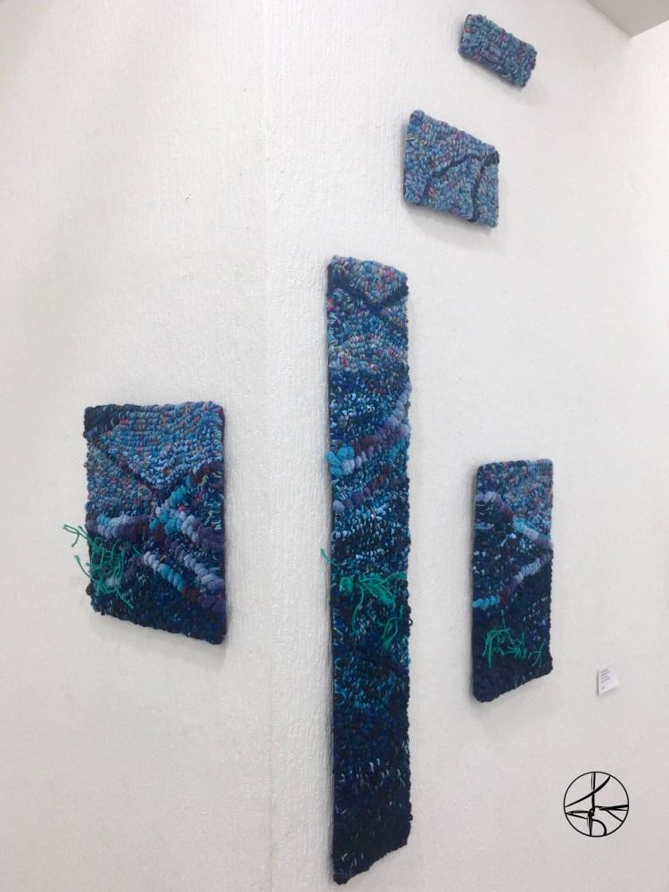 5 piece rug hooking tapestry in ocean blues