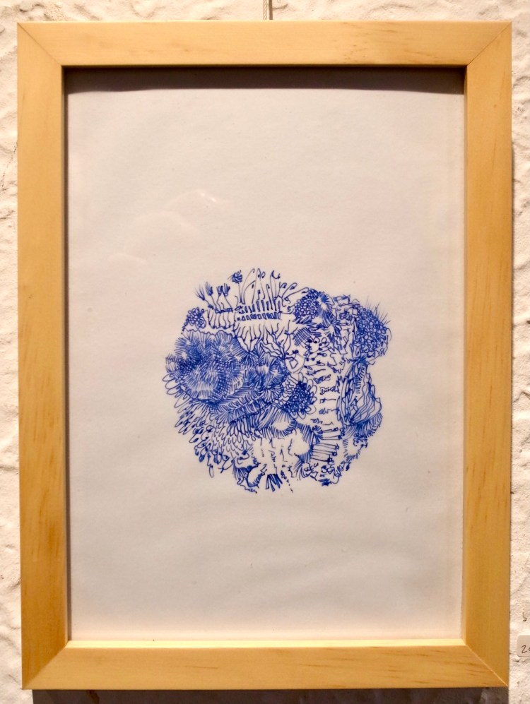 Blue ink daily drawing by Arthur J Huang