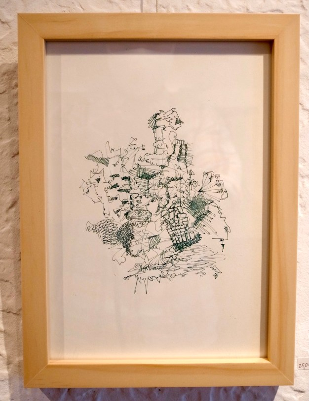 Grey-green ink daily drawing artwork, framed, by Arthur J Huang