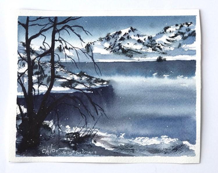 Dreaming of Winter watercolor artwork by Chloe Tomomi