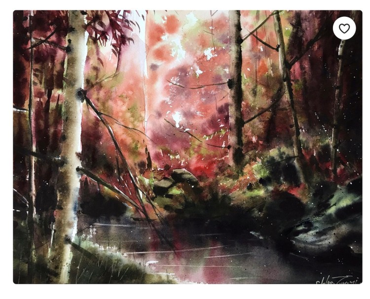Dramatic watercolor painting of a forest by Chloe Tomomi called Shinrin Yoku Pt IV