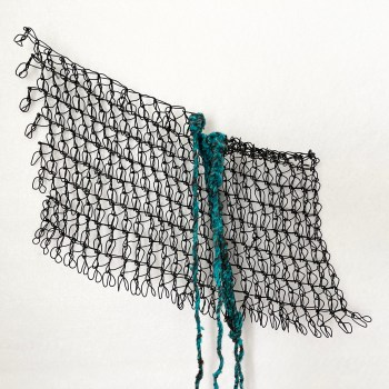 Hand-crocheted wire and fiber abstract piece 1