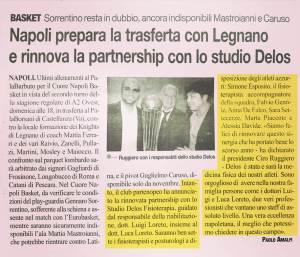 Articolo La gazzetta dello Sport Napoli Basket rinnova la partnership con lo Studio Delos