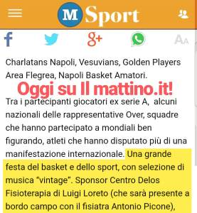 Articolo de Il Mattino Studio Delos alla festa del Basket