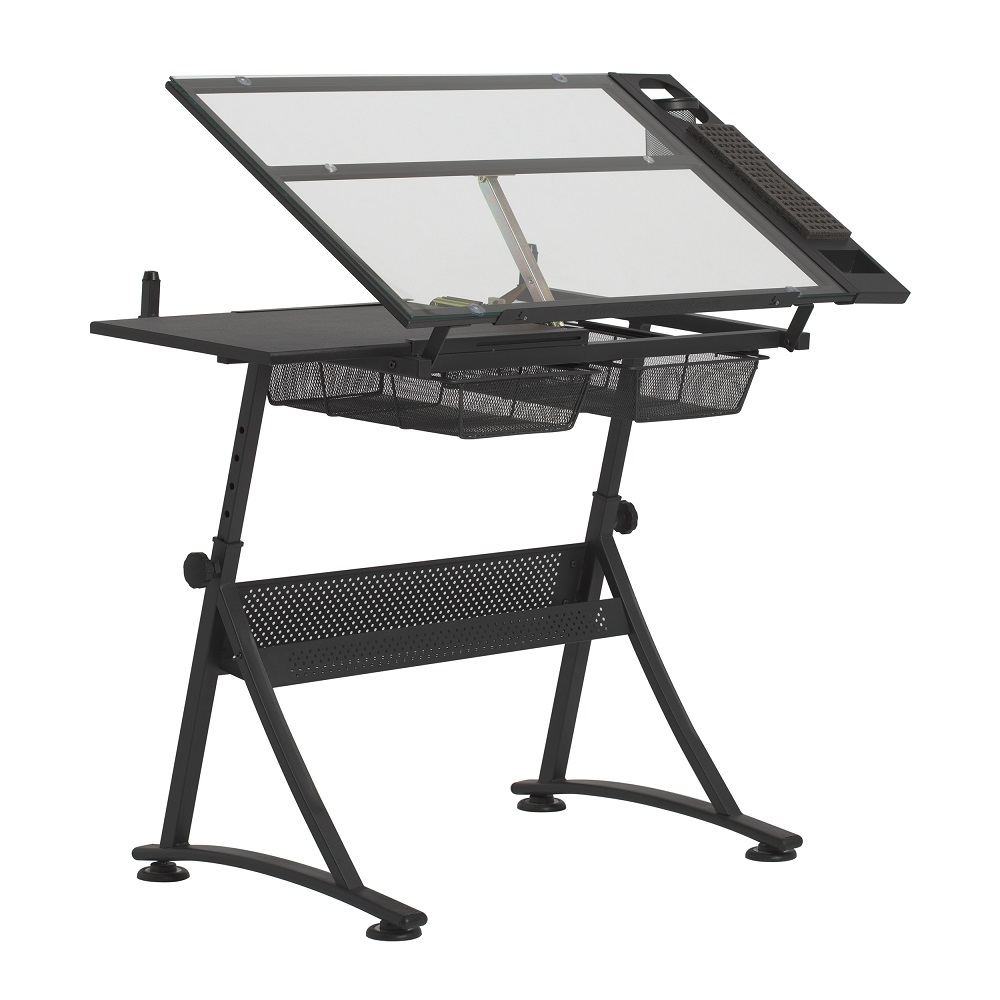 hobby lobby exclusive fusion craft center table stool and 24 storage tray in charcoal black clear glass item 10108 studio designs