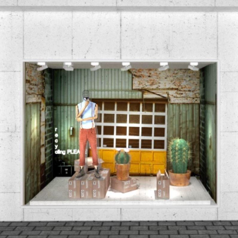 Diseño 3d de escaparate con mensaje pro reciclar por favor