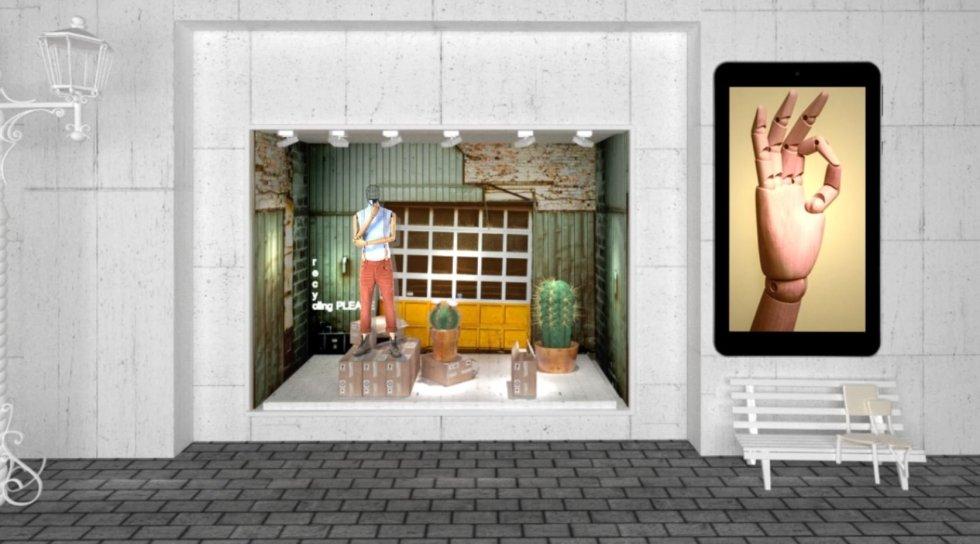 Diseño 3d escaparate con pantalla led exterior a medida