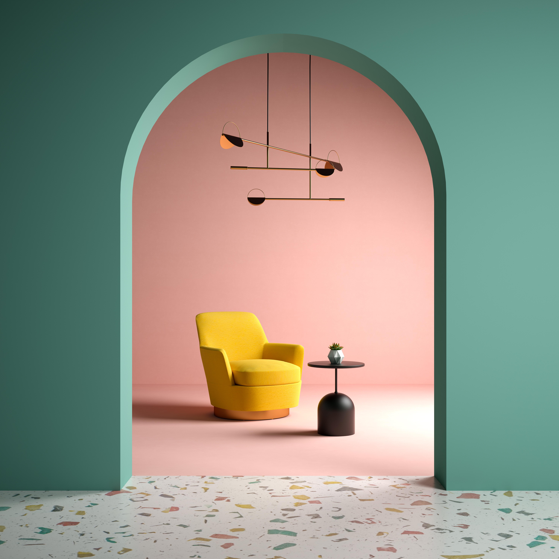 Memphis style tendencias diseño 2022 - espacios equilibrados combinando sólidos y patrones.