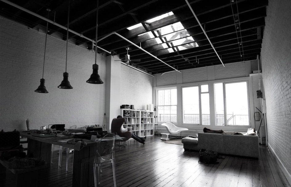 soho new york loft penthouse designed by Pierre Albert Winter :: gut renovation ... industrial chic exposed beams and skylights