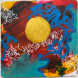 small painting with gold sun