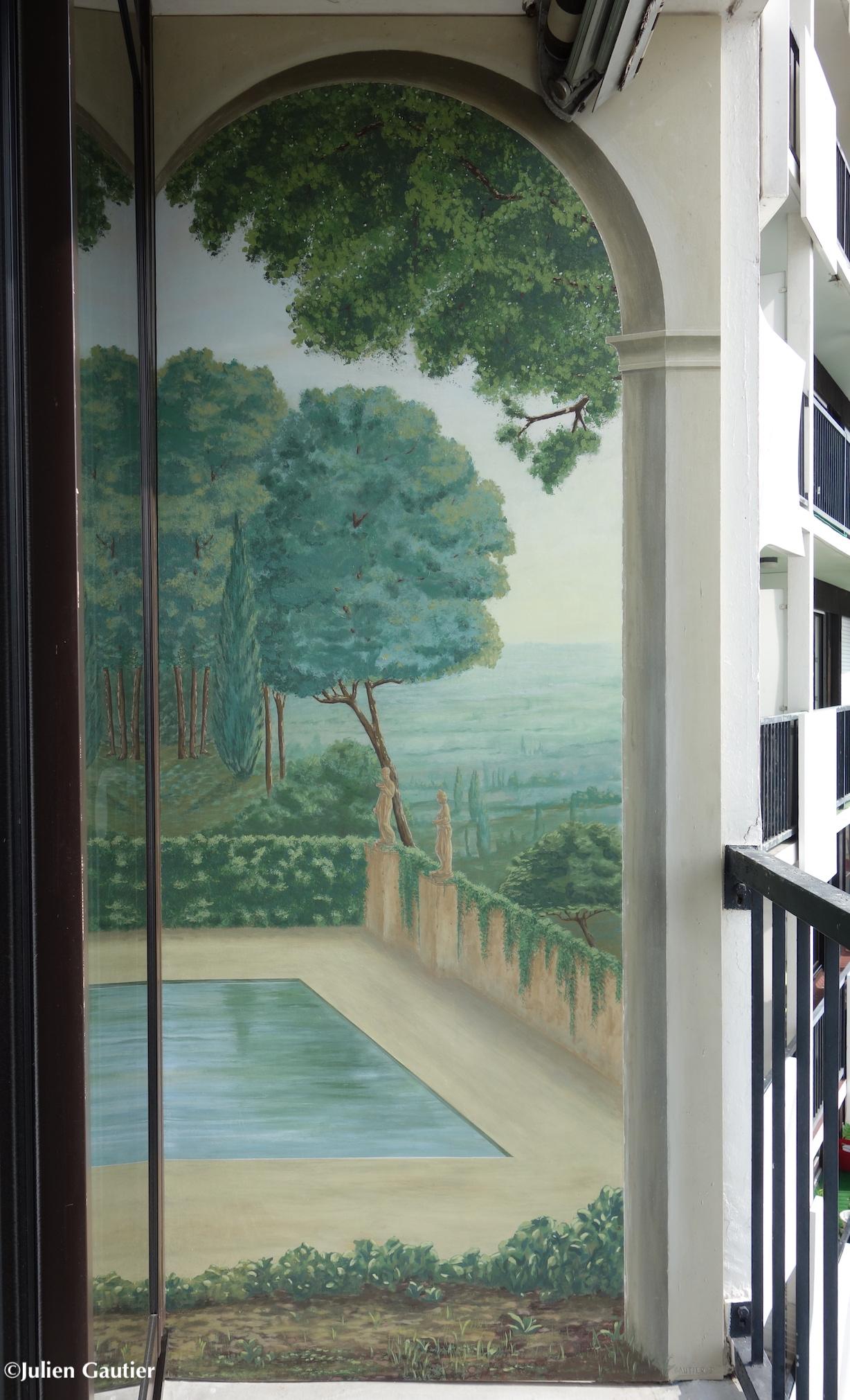 Trompe L Oeil Peint Avec Ouverture Sur Paysage Studio Julien Gautier