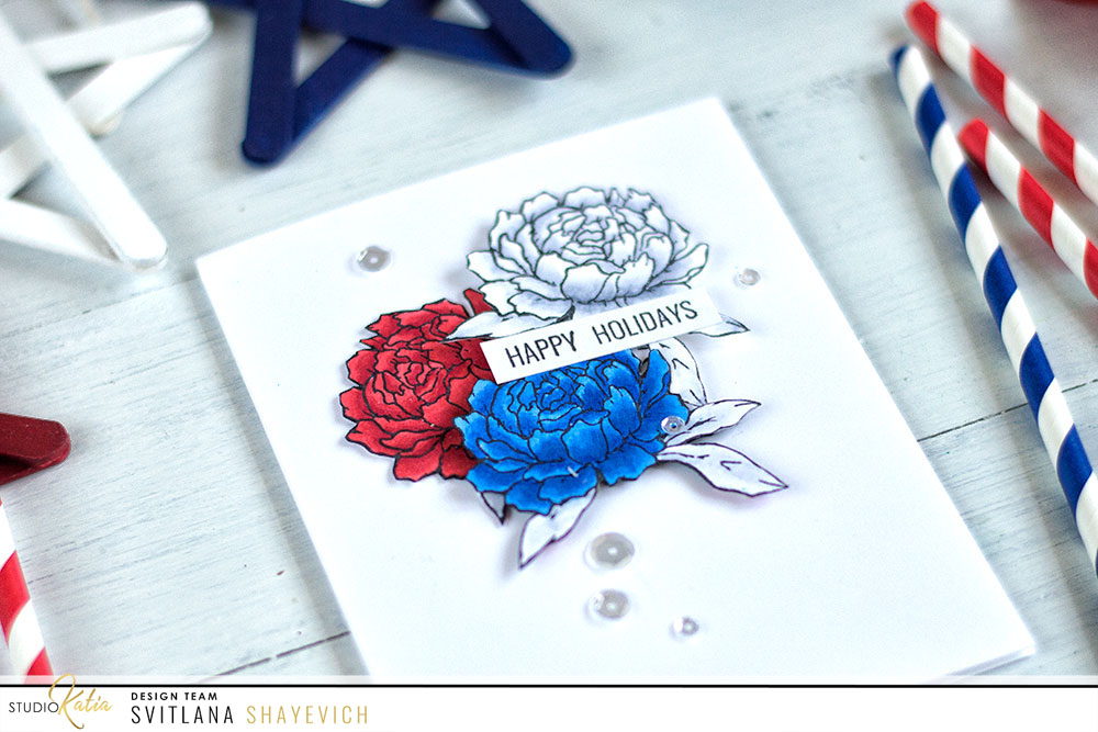 Create both clean and bright Americana card by adding red, navy and white flower cluster to a white card base. Made using Studio Katia Together We Bloom stamp set. Card by @craftwalks.