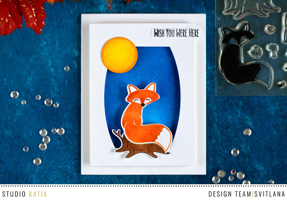 Cute night scene with Studio Katia Foxes Stamp Set. Card by @craftwalks