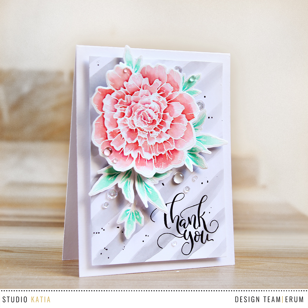 Studio Katia Thank You So Much Stamp Set watercoloured by Erum Tasneem @pr0digy0