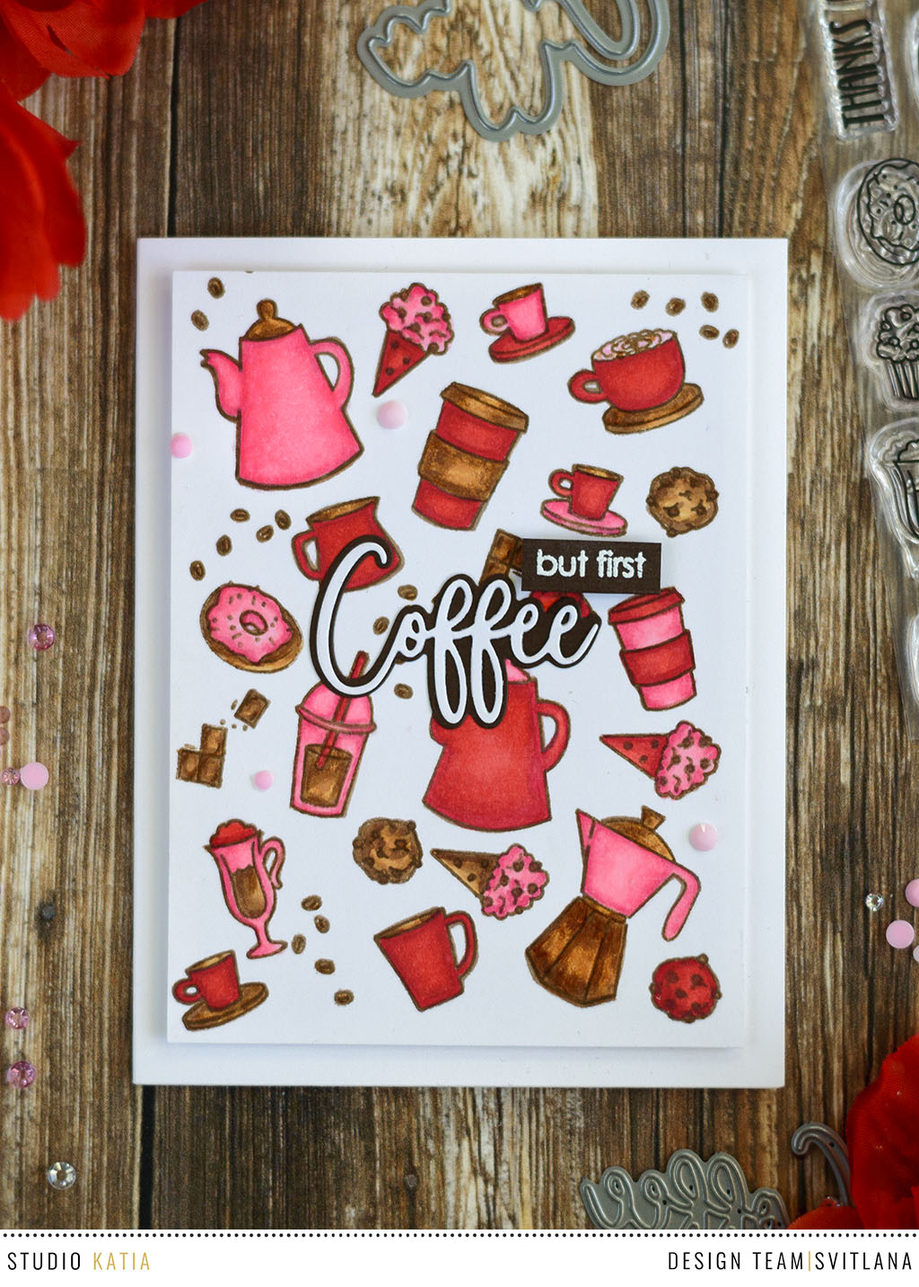 Coffee Background with Studio katia Sweet Latte/ Card by @craftwalks