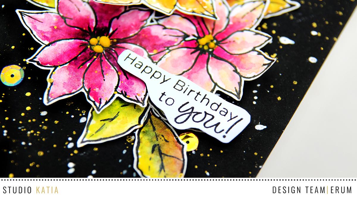 Studio Katia Merry Poinsettia Stamp Set | Erum Tasneem | @pr0digy0