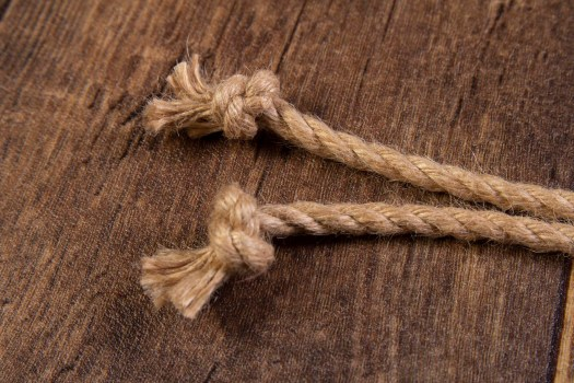 Knoted ends on natural jute rope
