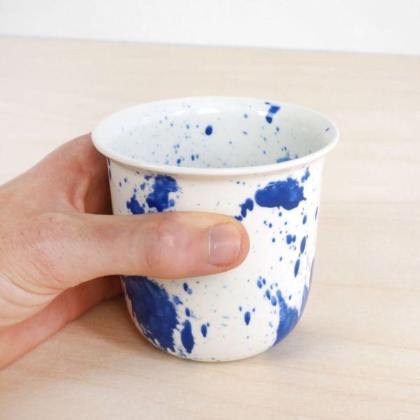 C05-3  in hand splash coffee or tea cup - indigo cup - splatter - espresso cup - porcelain expresso