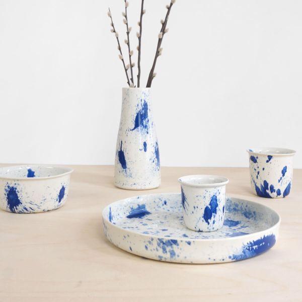 C05 all 5 pieces plash coffee or tea cup - indigo cup - splatter - espresso cup dinner set dutch design