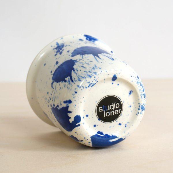 C05 bottom logo splash coffee or tea cup - indigo cup - splatter - espresso cup - porcelain expresso