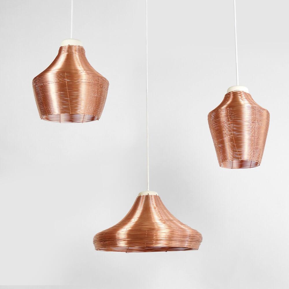 Copper Pendant Lamp Set