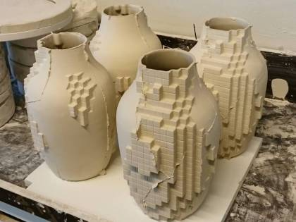 Pixel vases, fresh from the mold