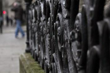 Wrought-iron detail on Dublin street.