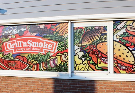 Grill 'n Smoke window illustration