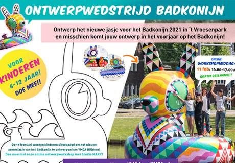 Online kids tekenworkshop Badkonijn, 11 februari 2021 van 16-17 uur