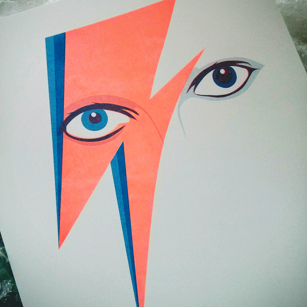 Bowie Aladdin Sane Risograph Print