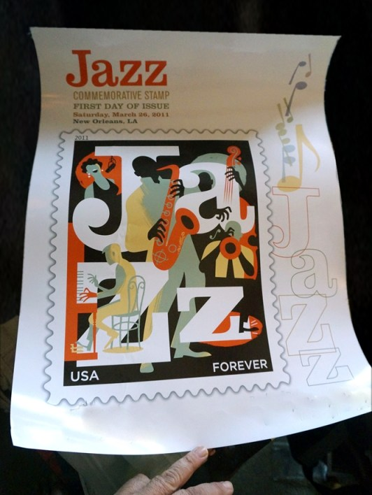 Jazz Stamp Poster signed by stamp designer Paul Rogers