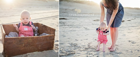 Photograph of six-month-old todder on the beaches of corolla NC