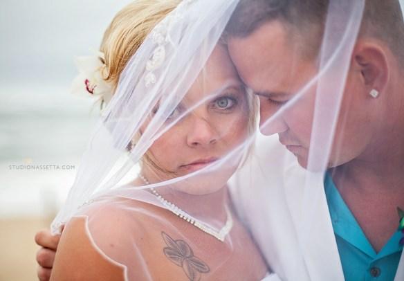 award winning photograph of beach wedding couple in Nags Head NC