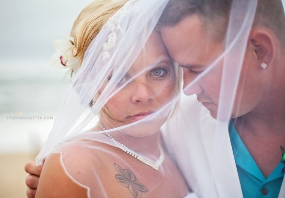 award winning photograph of beach wedding couple in Nags Head NC
