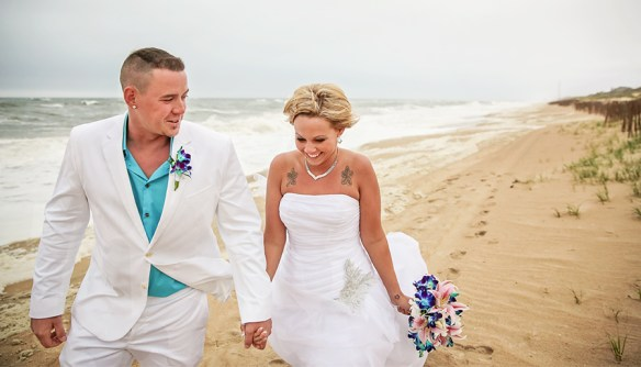 just_married_couple_beach_ocean_obx