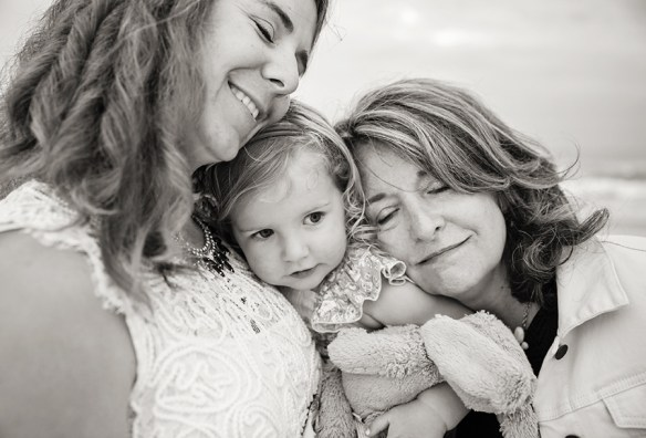 Mom Daughter and Grandma black and white photo Nags Head NC