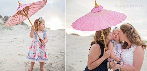 Photo of girl with pink umbrella on the beach in Nags Head NC