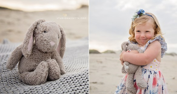 A gifl and her bunny in Outer Banks NC