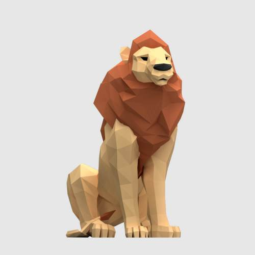low poly 3d model lion