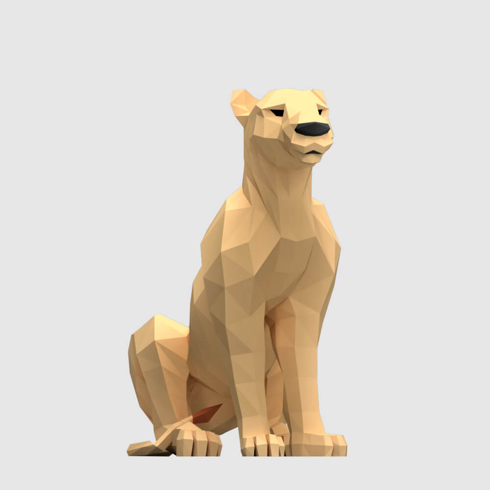 low poly 3d model lioness