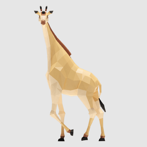 3D render giraffe lowpoly model