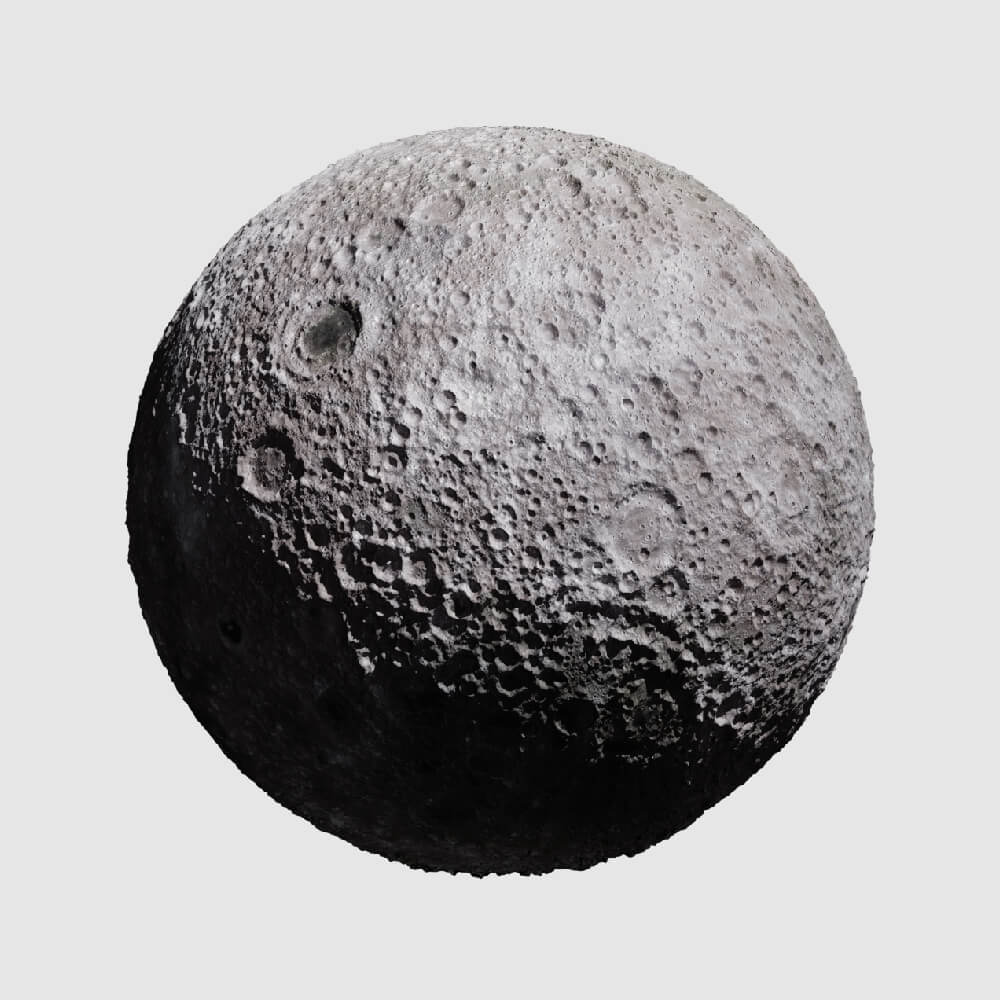 realistic 3D render of the moon