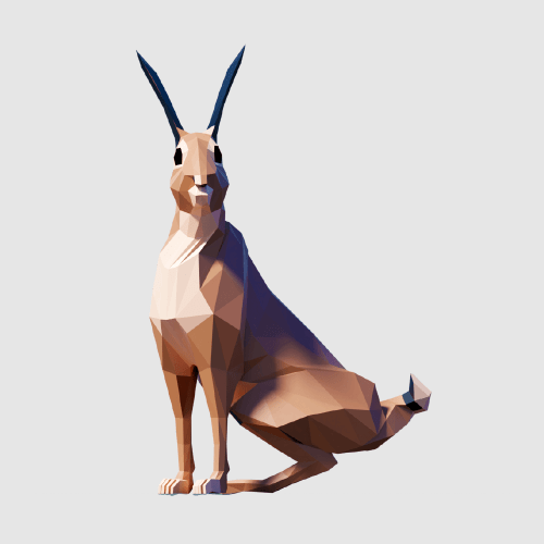 3D render rabbit lowpoly model