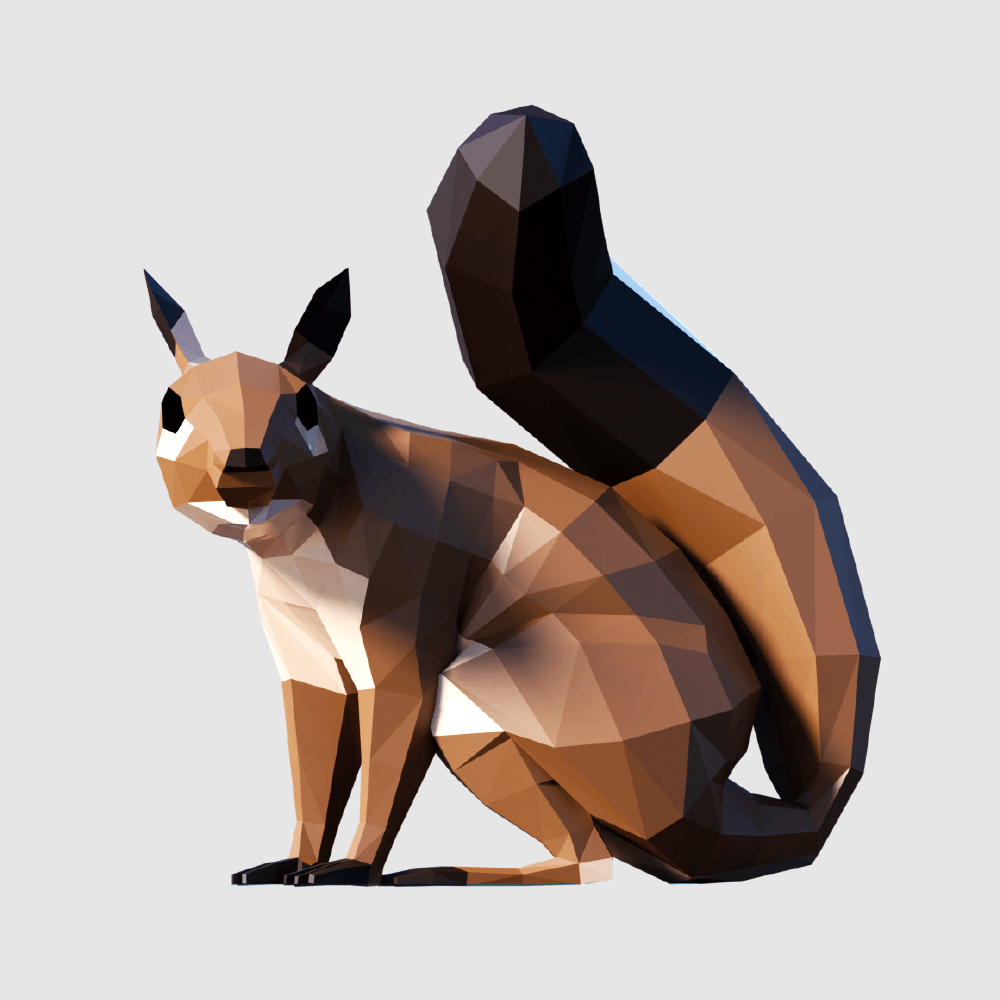 3D render squirell lowpoly model