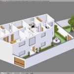 3D model of a lowpoly flats in blender