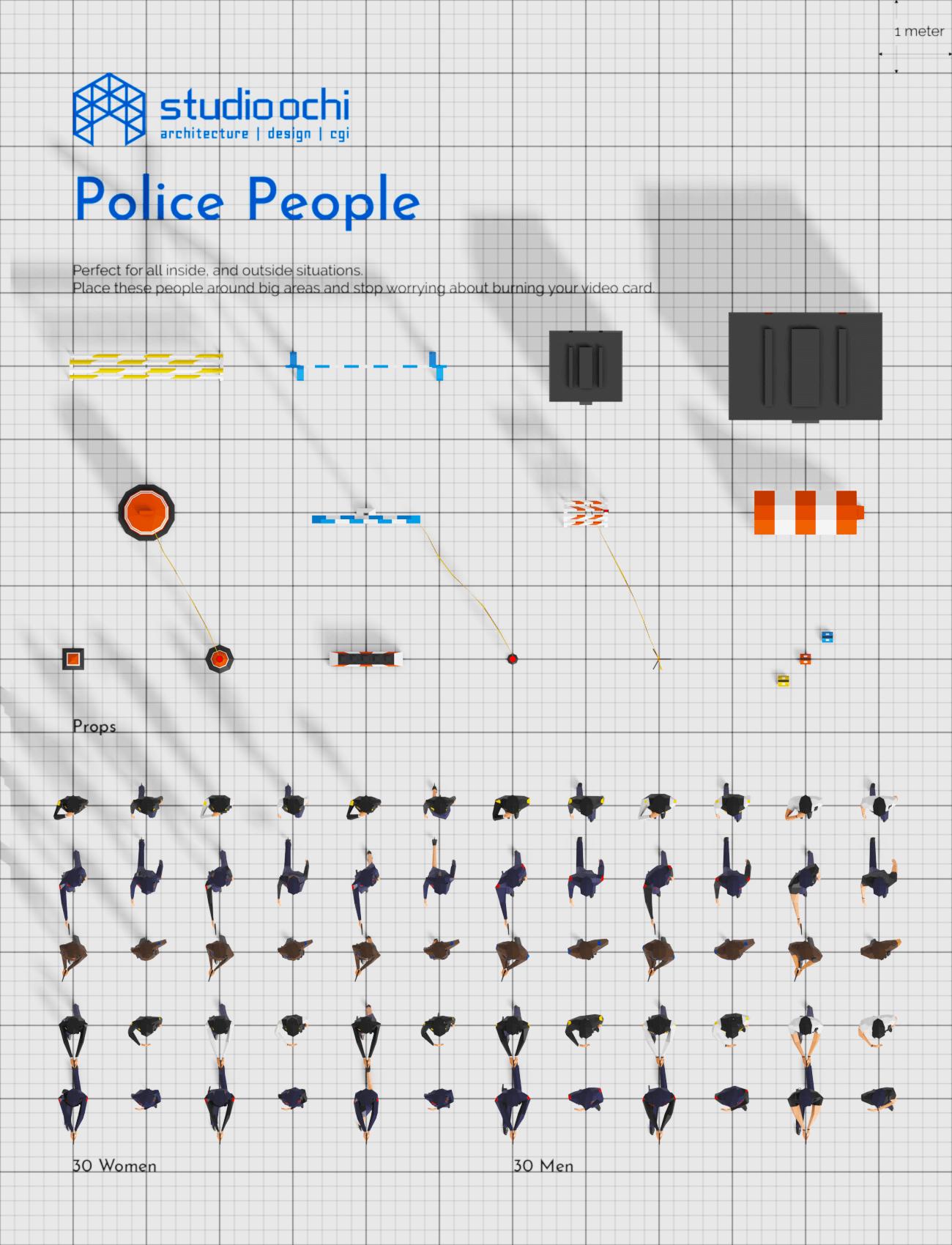 3D render lowpoly people crowd population model