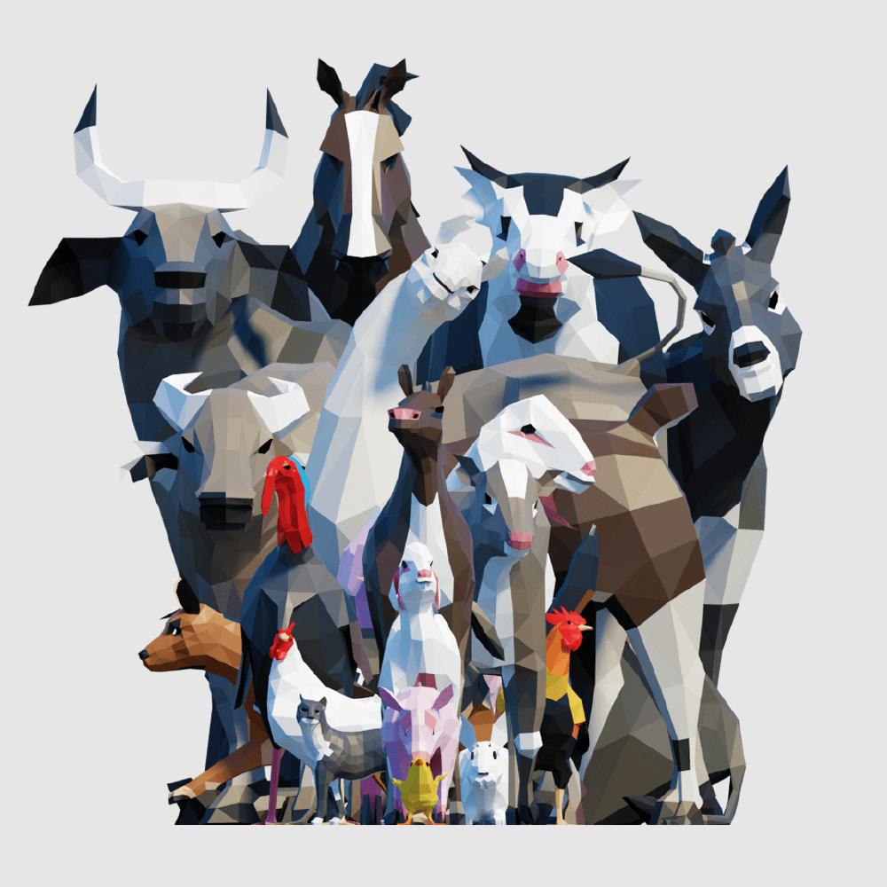 3D render farm animals lowpoly model