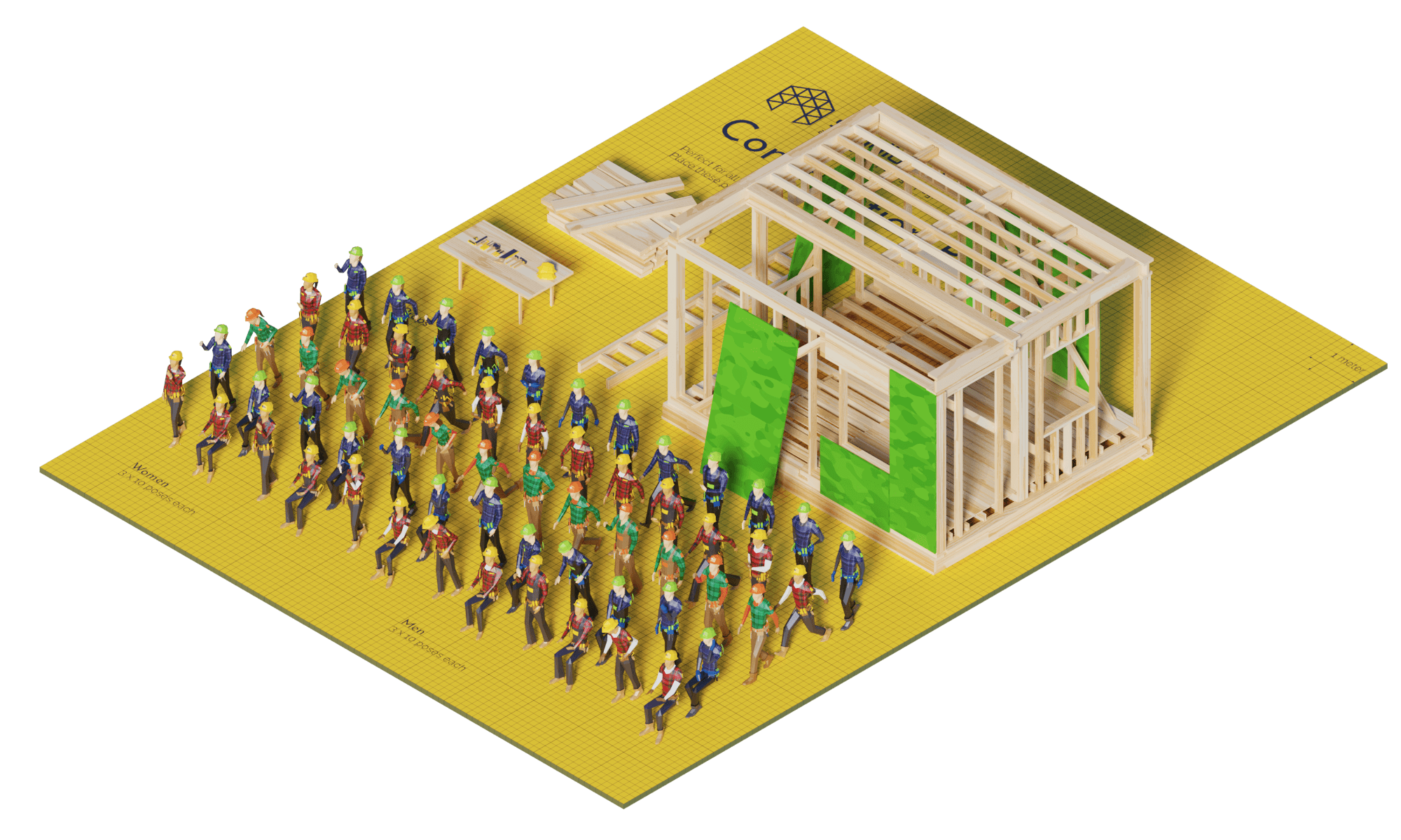 3D render lowpoly people crowd population model