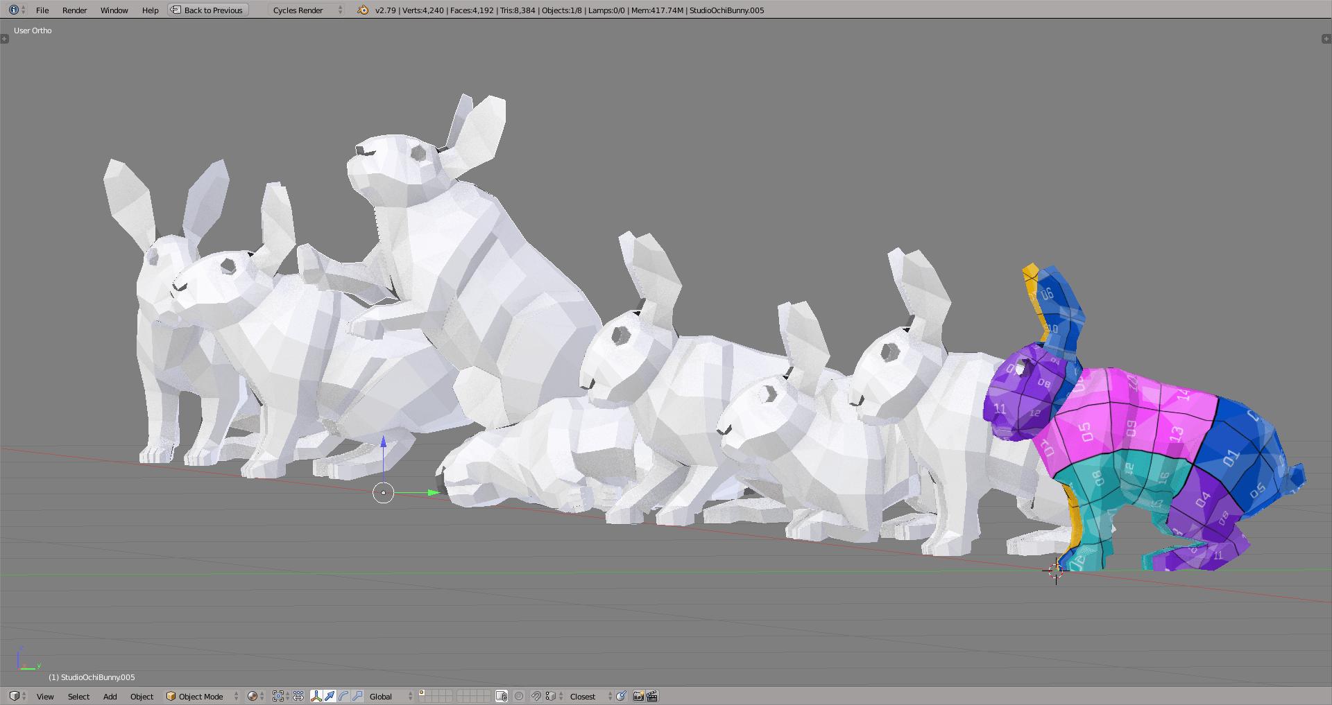 3D render bunny lowpoly model