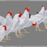 3D render hen lowpoly model